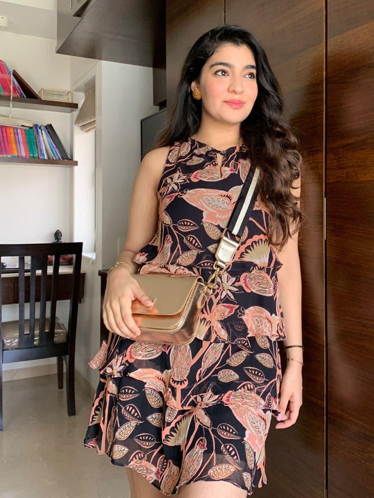 Black Floral Tiered Short Dress