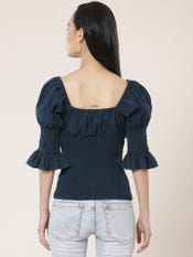 Navy Blue Smocked Top