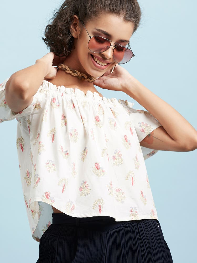 Ecru Paper Polin Printed Off-Shoulder Top