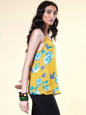 Yellow Brushed Floral Top
