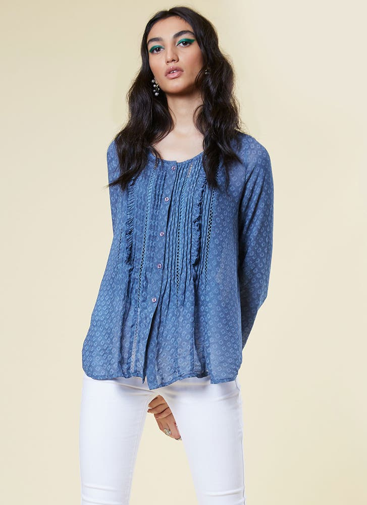 Blue Ruffle Top