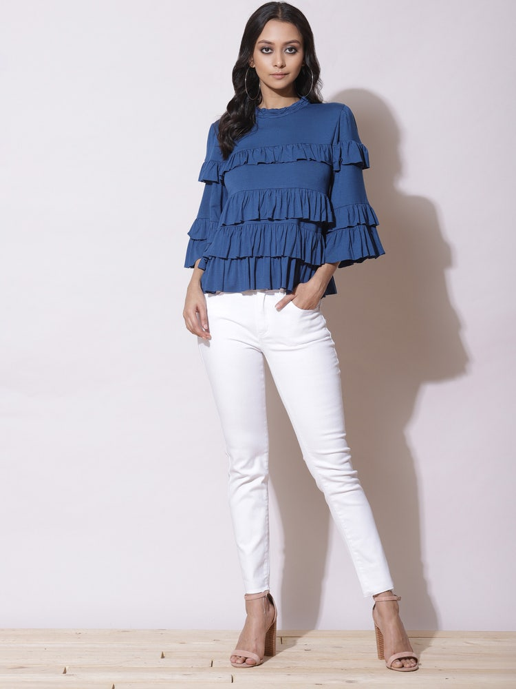 Blue Tiered Top