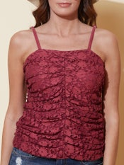 Burgundy Lace Strappy Top