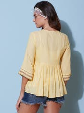 Yellow Embroidered Tiered Top