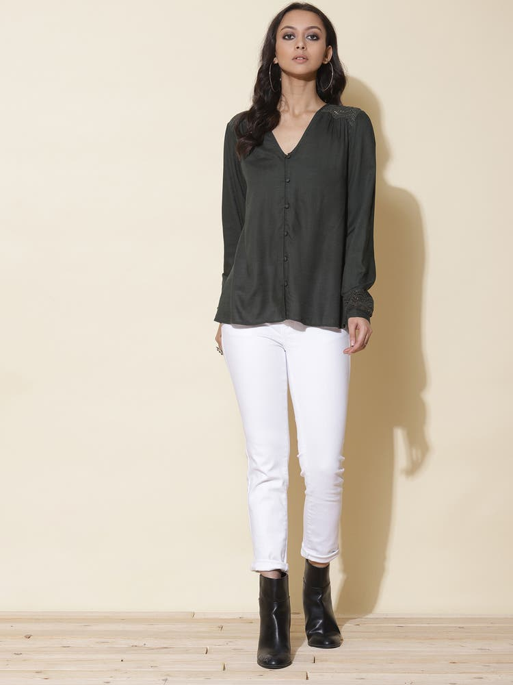 Olive Green Solid Top