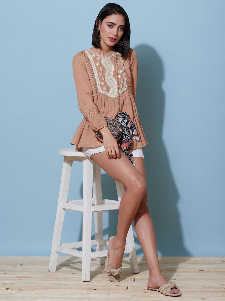 Beige Embroidered Top