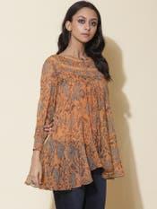 Sheer Tangerine Floral Print Top