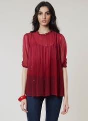 Cherry & Burgundy Tie-Dye Top