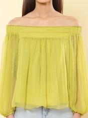 Neon Green Off-The-Shoulder Top