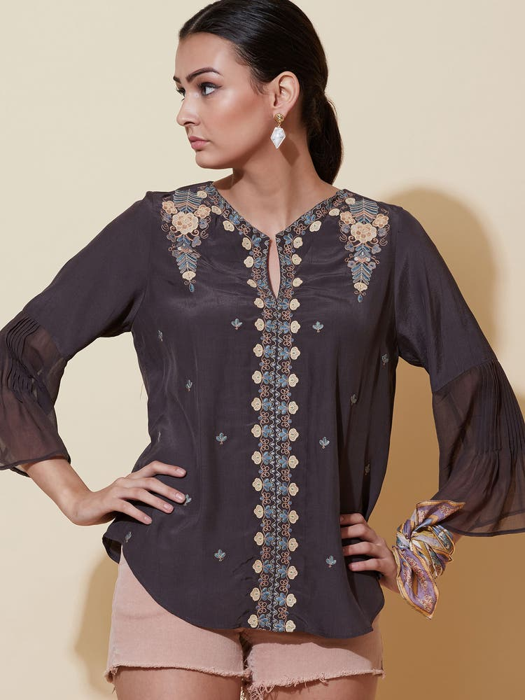 Charcoal Grey Embroidered Top