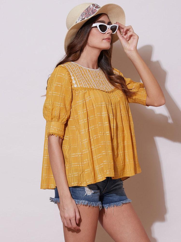 Yellow Lurex Top
