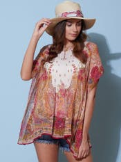 Ecru Printed Kaftan Top
