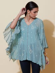 Turquoise Blue Ruffle Top