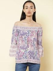 Purple Floral Print Off Shoulder Top