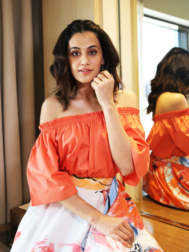 Tapsee Pannu in a Coral Paper Poplin Off-Shoulder Top