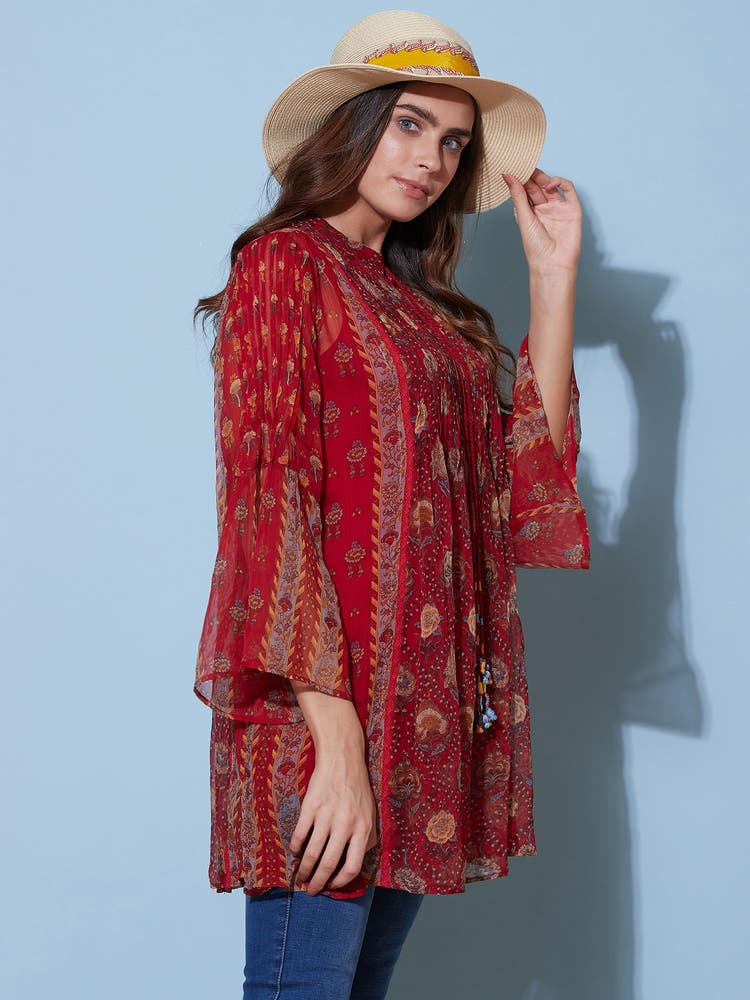 Red Floral Print Tunic